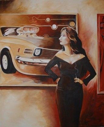 Car and Girl acrylic